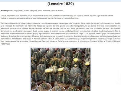 taxonomia.suculentas.com Sitio web especializado en información taxonómica de plantas suculentas.