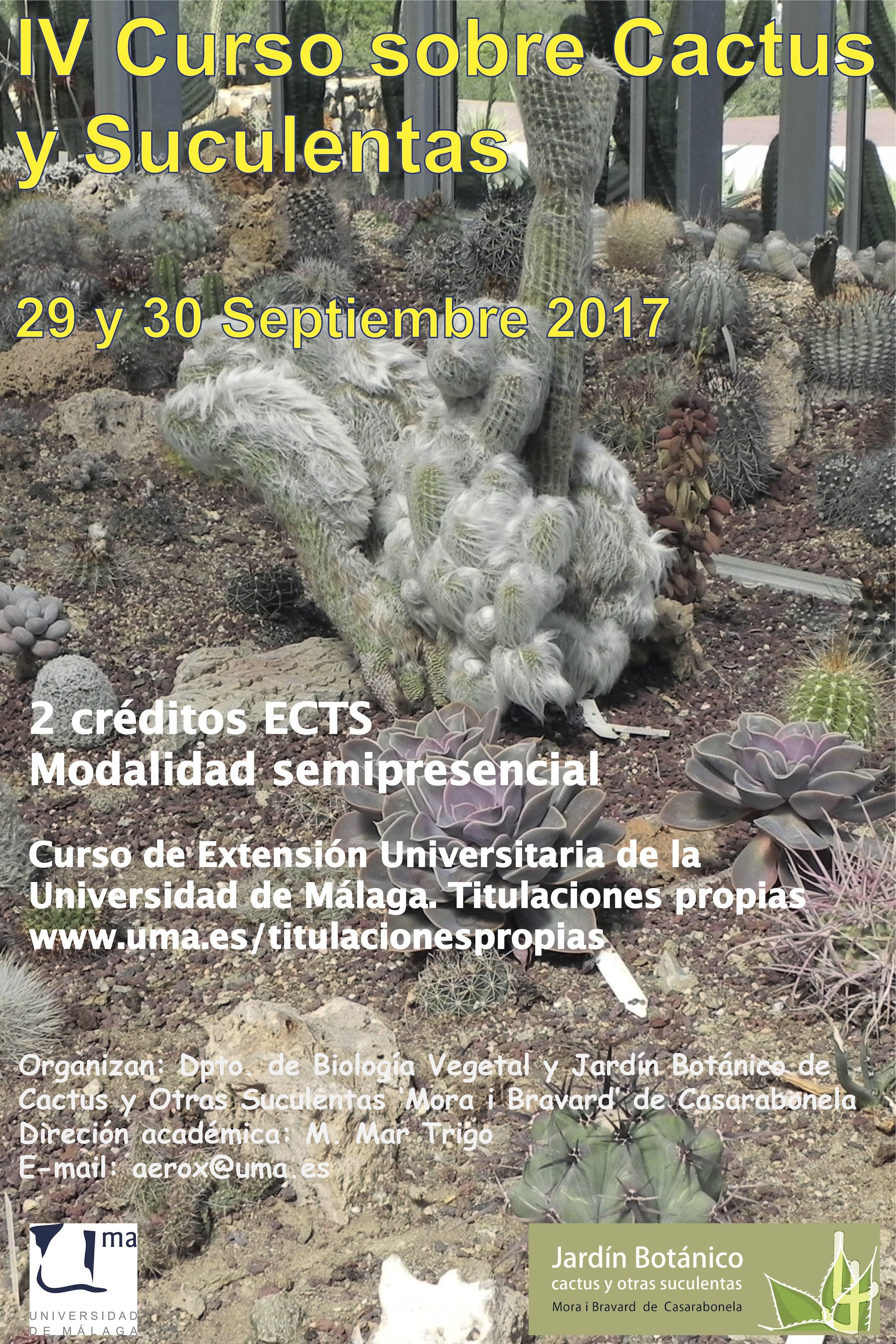 Cartel IV Curso Cactus Universidad de Málaga